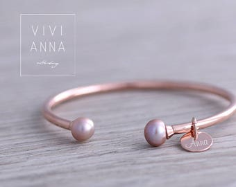 Sterling silver rose gold bracelet wish engraving · Personalized Gifts · a137