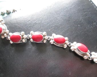 Heavy Vintage Mexican Silver and Coral Bracelet