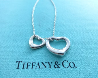 Authentic Tiffany & Co. Elsa Peretti Open Heart Double Sterling Silver Pendants Necklace