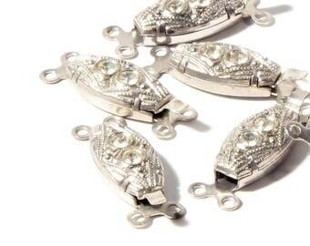 Lot (9) Vintage Czech 2 strand crystal rhinestone geometric necklace clasp closers B102-30
