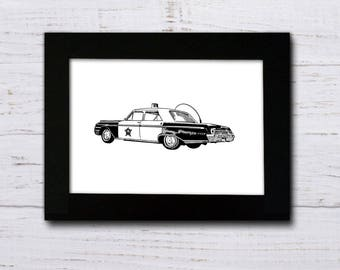 Mayberry Squad Car Pen and Ink Print | Andy Griffith Show