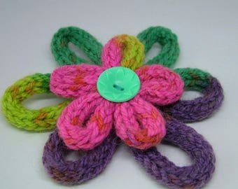 Multi-coloured Knitted Flower Brooch