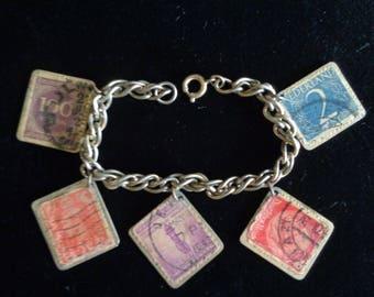 Vintage bracelet charm postage stamps European on chain link