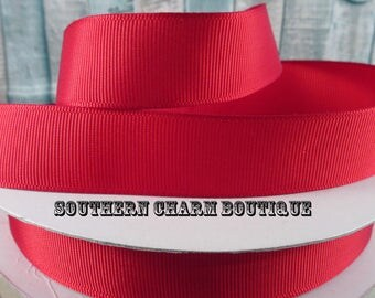 "3 yards 7/8"" red grosgrain ribbon"