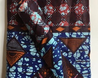 "BTY Vintage 70s Dutch Wax Cotton Ankara Fabric 43"" Wide"" African Print Blue Purple- 175-B8"