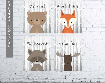 WOODLAND Animals Wall Art Print-Set of Four (4) - Digital Download. Woodland Creatures Wall Art Printable. Classroom Woodland Quote. Quote
