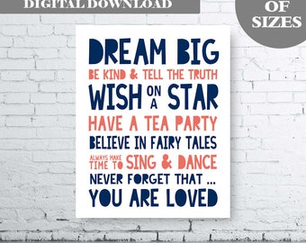 Dream Big Quote Printable Art. Whimsical wall art, Inspirational Poster, Nursery Quote Print, Navy Coral Nursery Quote Art. Girls Quote Art.