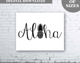 ALOHA Wall Art-Instant Download. Aloha Print. Typography Art. Pineapple Print. Pineapple Wall Art. Pineapple Aloha. Summer Print. Black Art