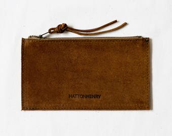 ZIP WALLET Rust Brown • Rough Out Suede Leather Case