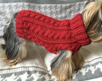 Custom made Cabled Dog Sweater