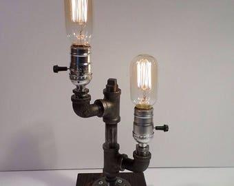 25% OFF SALE Industrial Lighting - Steampunk Lamp - Table Lamp - Edison Light - Vintage Light - Pipe Lamp - Bedside Lamp - Rustic Lighting -