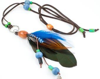 Boho Feather Necklace - Southwestern Jewelry - Real Feather Pendant - Cruelty Free Feather Jewelry - Bohemian Feathers - Boho Jewelry