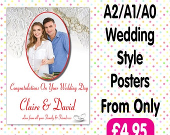 Personalised Photo Birthday Christening baptism Party Gloss Posters Any Age, Any Name, Any Event A012