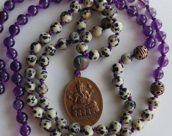 Dalmatian jasper mala necklace Amethyst mala necklace Shiva Ganesh mala necklace 108 mala beads 108 knot necklace meditation necklace