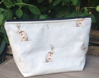 Large wash bag cosmetic bag in duck egg blue hare fabric bathroom storage student travel bag