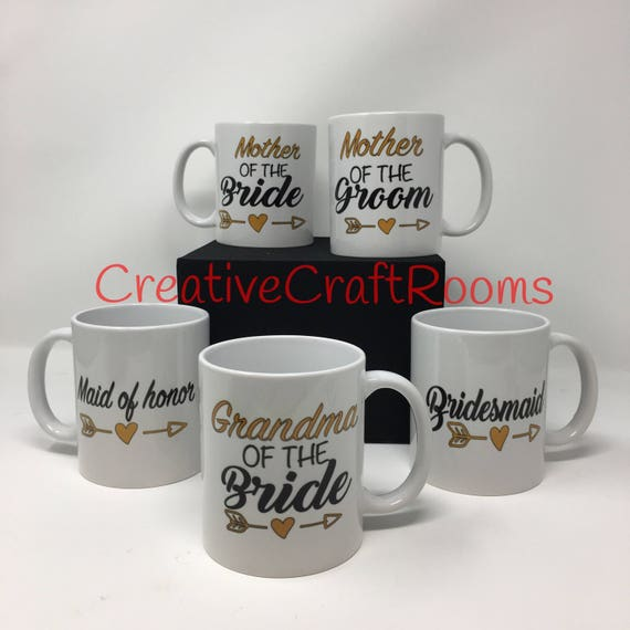 Mother of the Bride mug, Weddimg party mugs, personalized gift, Father of the Groom, Bridesmaid, Mother of the Groom, Father of the Bride