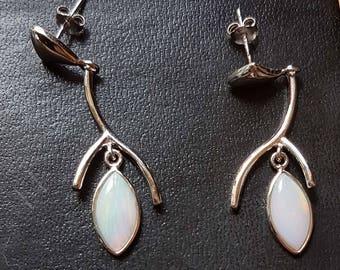 Australian Marquis cut opals set in wishbone pattern stud earrings