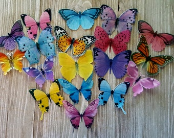 18 Garden Rainbow Colorful Edible Butterflies Cake Toppers