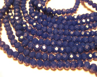 1 Strand Blue Faceted Rondelle Glass Beads 4x3mm ( No.24)