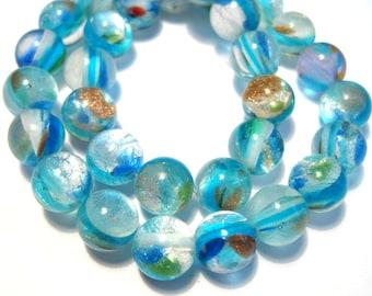 1 Strand Handmade Blue Lamp work Glass Beads 7mm Round