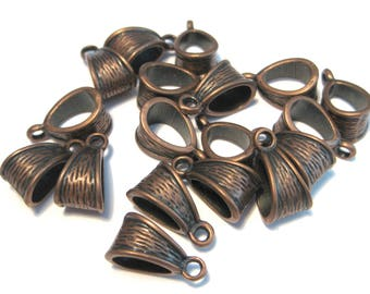 Antique Copper Bails Charms Beads 14x7mm
