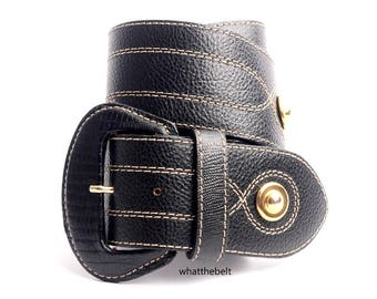 Vintage Belt Wide Black Leather Waist Cincher Cinch Gold Buckle Small