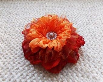 Red Fabric Clip-Brooch. Rose Flower