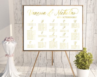 Alphabetical seating chart, gold seating chart, guest seating, weddings, wedding ceremony, alphabetical, custom wedding signs, gold foil