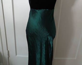 Vintage Black Velvet and Green Formal Dress