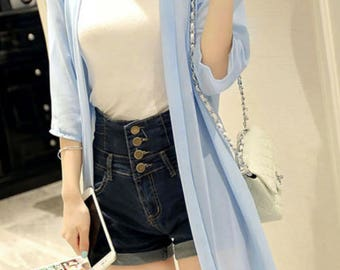 Cardigan, Available in 3 colors, Cover Up Kimono,light blue jacket, Summer Front Open Kimono