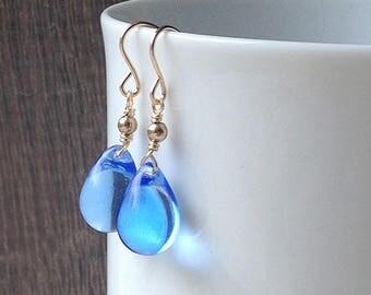 Sapphire blue dangle earrings, gold blue drop earrings, blue bridesmaid earrings, royal blue glass earrings, silver teardrop earrings