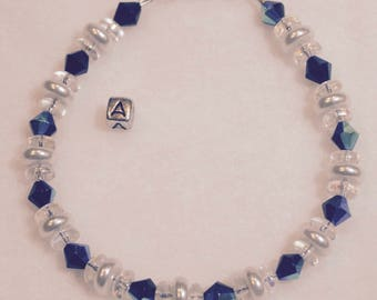 Aurora Borealis Bracelet With Glass and Pearl Discs