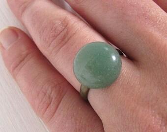 Jade grüner vintage Ring bronze verstellbar adjustable