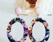 The Garden Party Earrings. Pastel Color Resin Earrings. Multi Color Acetate Earrings.
