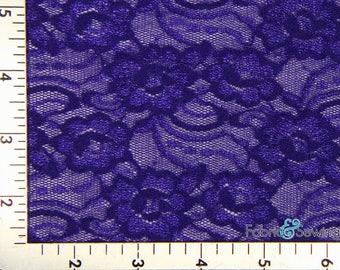 "Royal Blue Flower Stretch Lace Fabric 4 Way Stretch Nylon 60-62"" 151114"