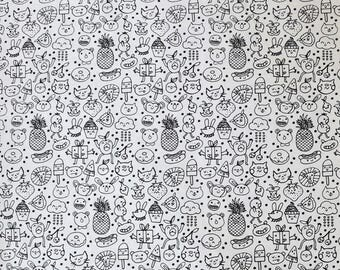 Fabric - Rico - Black and white fun face print - colour in fabric - woven cotton