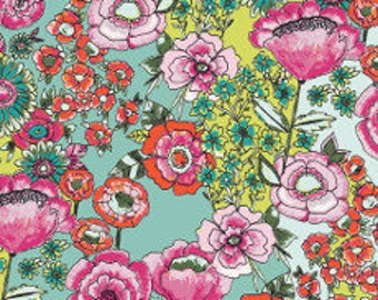 Fabric - Art Gallery - Flower Shower Intense From Wild Bloom Designed By Bari J - cotton print.