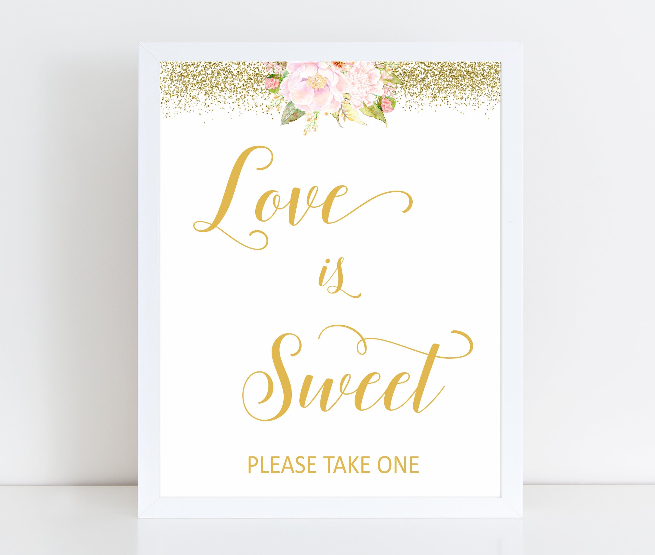 Printable Love is Sweet Sign, Gold or Black, Wedding Favors Sign ...