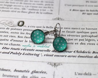 Earrings sleepers turquoise cabochon and stars