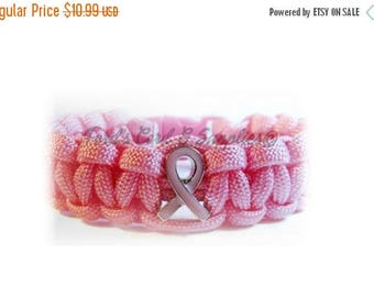 CIJ SALE Breast Cancer Awareness Paracord Bracelet, Survival Bracelet, Pink Ribbon, Breast Cancer Survivor