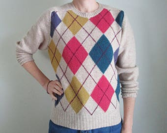 Vintage Benetton Sweater Argyle Sweater Vintage Wool Sweater Beige Pink Yellow Turquoise Crew Neck 80s Preppy Sweater 80s Benetton Sweater