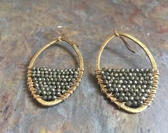 Pyrite gemstone gold hoop earrings