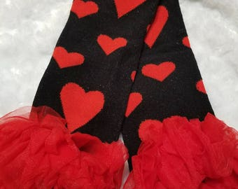 legwarmers black and red hearts girls baby