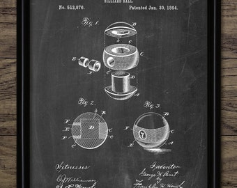 Billiard Ball Patent - 1894 Pool Ball Design - 8 Ball Billiards - Pool Player - Sport - Pool Ball - Single Print #2316 - INSTANT DOWNLOAD
