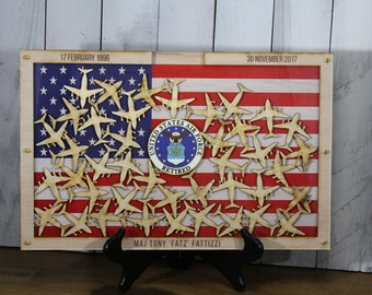 Personalized Guest Book/Flag/Air Force/Navy/Coast Guard/Marine/Patriotic/Large/Military/Retirement/Guest Book/Wood Shape/Alternative/Planes