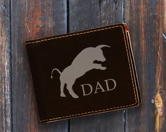 Dad-Engraved Bifold Wallet-Personalized Hunting-Full Size Art Work-Black Wallet-Engraves Silver-Personalized Bull
