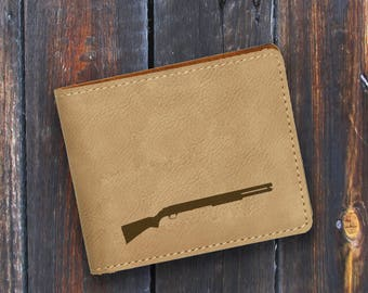 Engraved Bifold Wallet - Personalized Hunting-Full Size Art Work-Light Brown Wallet-Rifle