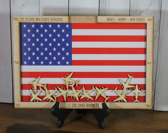 In Time for Christmas/Personalized Guest Book/Flag/Navy/Coast Guard/Army/Air Force/Military/Retirement/Guest Book/Wood Shape/Aircraft/Planes