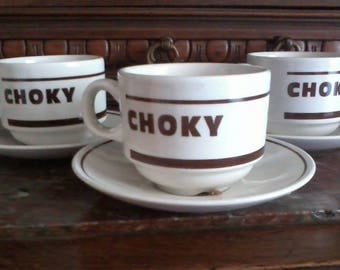 "Lot 3 cups of ""bistrot"" advertising brand CHOKI 1970s"