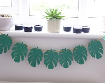 Tropical leaf banner garland, birthday decor, baby shower decor, home decor, nursery, photo prop